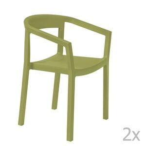 Zestaw 2 zielonych krzeseł ogrodowych z podłokietnikami Resol Peach