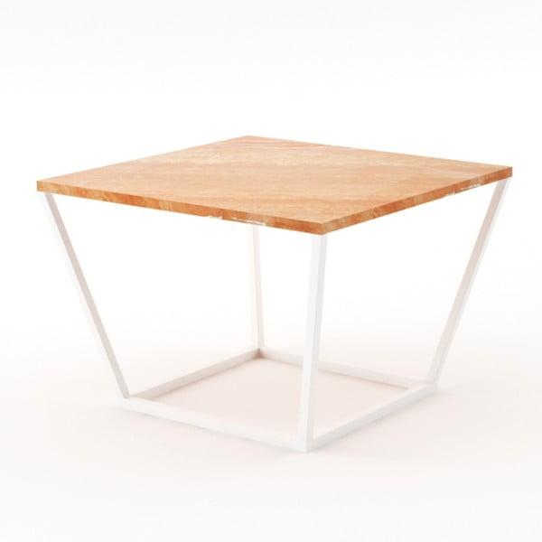 Beżowy stolik z marmuru z białą konstrukcją Absynth Noi Spain, mały
