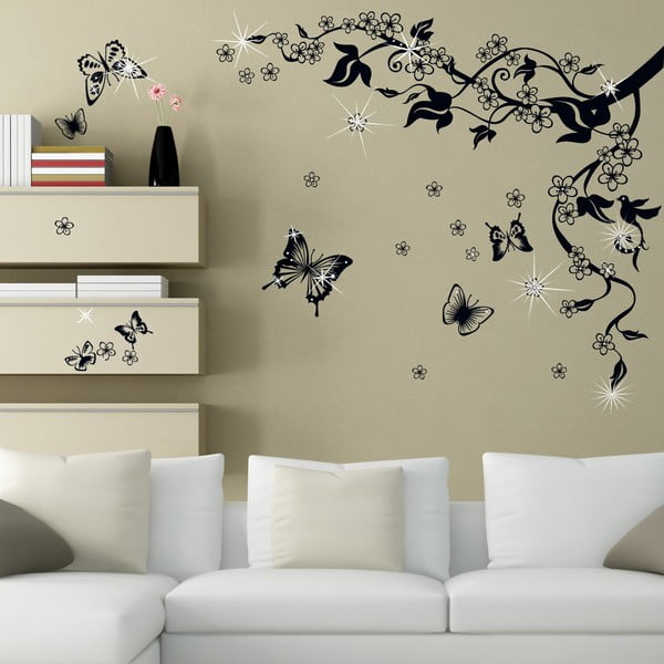 Naklejka ścienna Motyle i kwiaty z elementami Swarovski