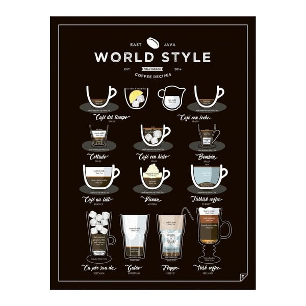 Plakat Follygraph World Style Coffee, 30x40 cm