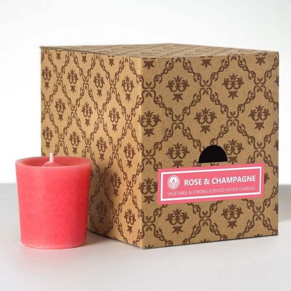 Zestaw 12 świeczek zapachowych Rose and Champagne, 15 godzin palenia