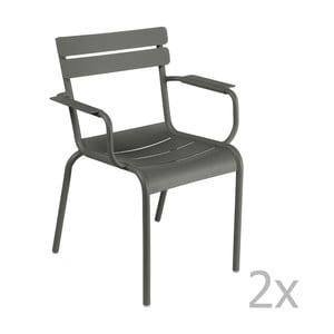 Zestaw 2 szarych krzeseł z podłokietnikami Fermob Luxembourg