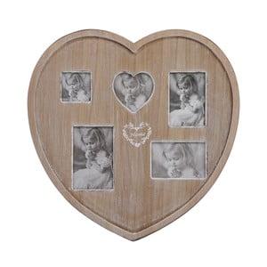 Drewniana ramka na 5 zdjęć, Heart