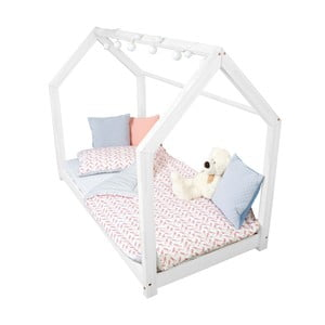 Białe łóżko dziecięce z wysokimi nóżkami bočnicemi Benlemi Tery, 70 x 160 cm, wysokość nóżek 20 cm