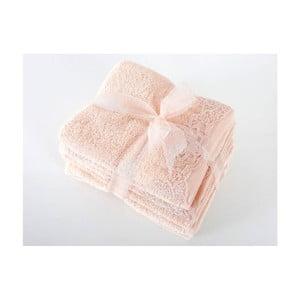 Komplet 4 różowych ręczników z bawełny premium New