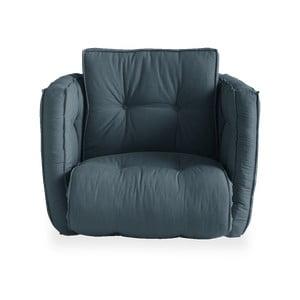 Rozkładany fotel z niebieskim obiciem Karup Design Dice Petrol Blue