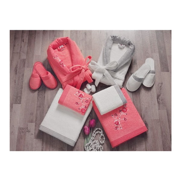 Rodzinny zestaw szlafroków, ręczników i kapci Red Grey