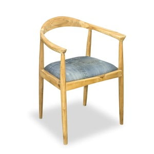 Krzesło do jadalni z drewna tekowego Bluebone Denim