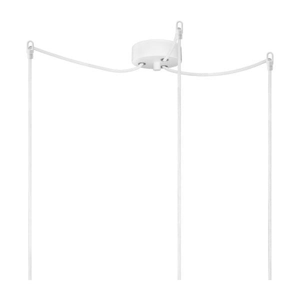 Biała potrójna lampa wisząca ze srebrną oprawką Bulb Attack Uno Basic