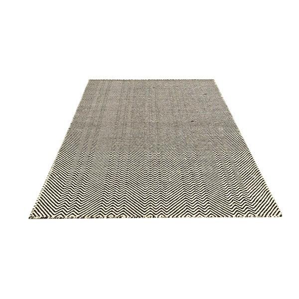 Ręcznie tkany kilim Black Zigzag Kilim, 110x156 cm