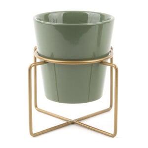 Zielona doniczka ceramiczna na podstawce Present Time Coy