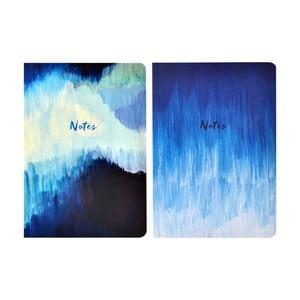 Zestaw 2 notatników A5 Portico Designs Blue Abstract