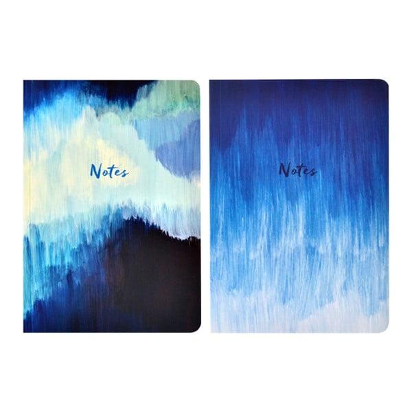 Zestaw 2 notesów A5 Portico Designs Blue Abstract, 100 stron