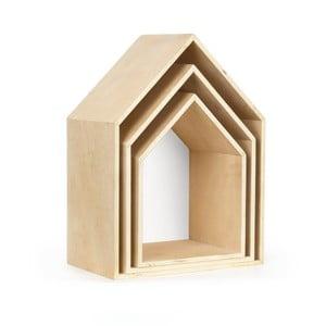 Zestaw 3 białych półek w kształcie domku Little Nice Things Casa