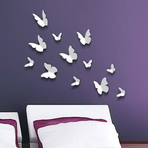 Naklejki motyle 3D Walplus 3D Butterflies White