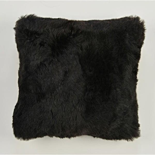 Dwustronna futrzana poduszka z krótkim włosem Blacky, 50x50 cm