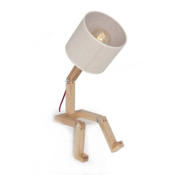 Lampa stołowa z drewnianą podstawą Fabiana