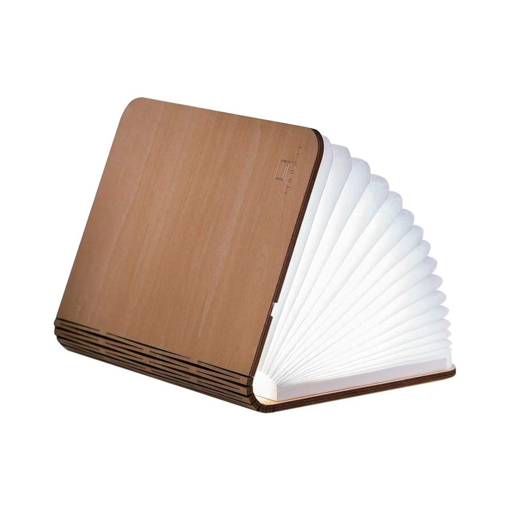 Jasnobrązowa lampa stołowa LED z drewna klonowego w kształcie księgi Gingko Standard