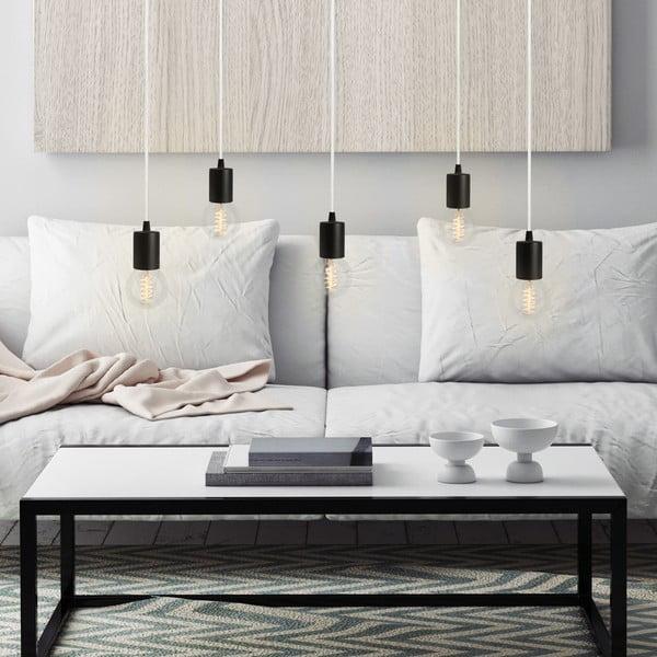 Lampa wisząca Cero, 5 rozłożystych kabli, czarny/biały/czarny