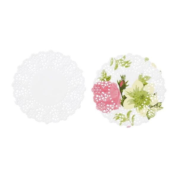Komplet 100 papierowych podstawek Floral