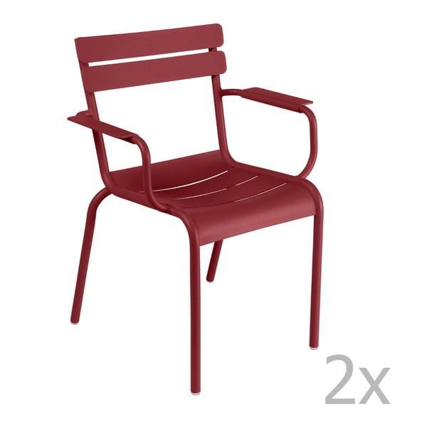 Zestaw 2 makowych krzeseł z podłokietnikami Fermob Luxembourg