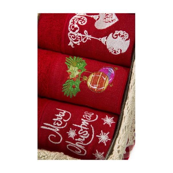 Zestaw 3 ręczników Xmas V5, 30x50 cm