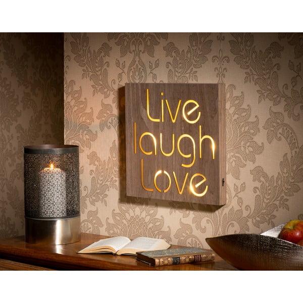 Obraz ze świecącym napisem Live Laugh Love, 30x30 cm