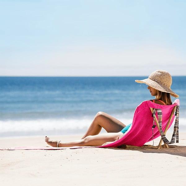 Leżak i ręcznik plażowy w jednym Sun Seat Fuchsia Tribal