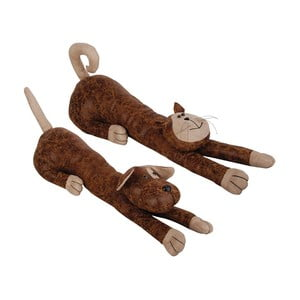 Zestaw 2 brązowych stoperów do drzwi Esschert Design Kot i pies