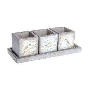 Zestaw 3 ceramicznych doniczek Bird