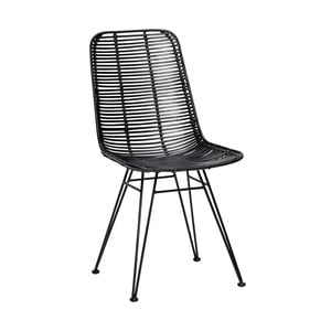 Czarne krzesło rattanowe Hübsch Bergitte