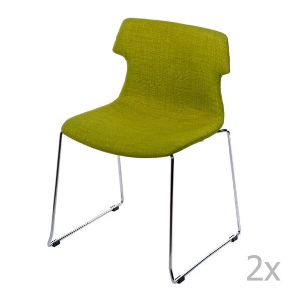 Zestaw 2 tapicerowanych zielonych krzeseł D2 Techno