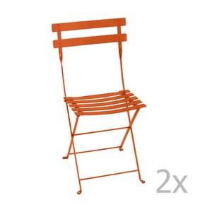 Zestaw 2 pomarańczowych krzeseł składanych Fermob Bistro