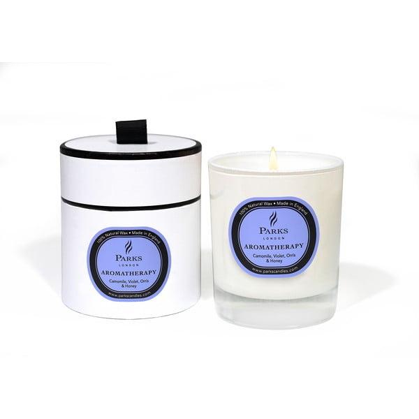 Świeczka Aromatherapy, 50 godzin palenia, zapach fiołków i rumianku