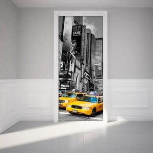 Naklejka   elektrostatyczna na drzwi Ambiance Time Square Taxis