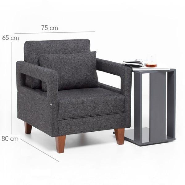 Szary fotel z podłokietnikami Balcab Home Monica