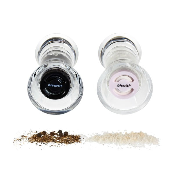 Komplet 2 młynków do soli i pieprzu Bisetti, 13 cm