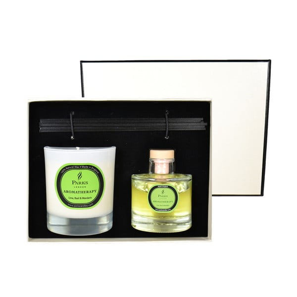 Podarunkowy zestaw świeczki i dyfuzoru Aromatherapy, zapach limonki i bazylii