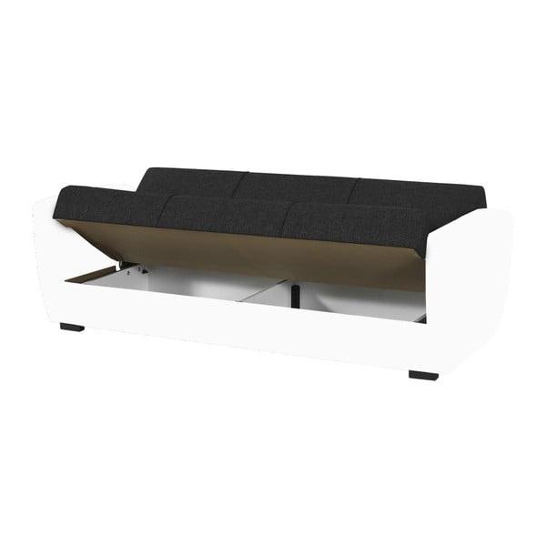 Grafitowo-biała trzyosobowa sofa rozkładana ze schowkiem Esidra Comfort