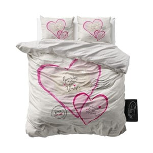 Pościel z mikroperkalu Sleeptime Post Love, 200x220cm