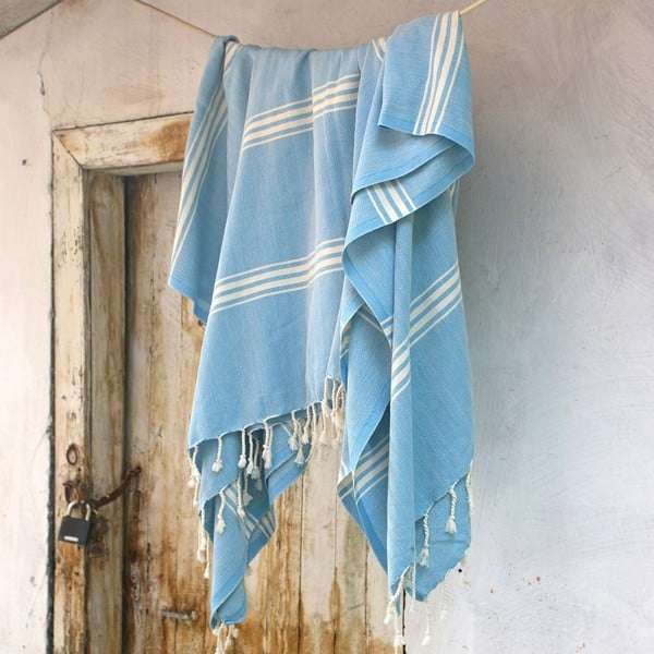 Ręcznik hamam ZikZak Turquoise, 180x230 cm