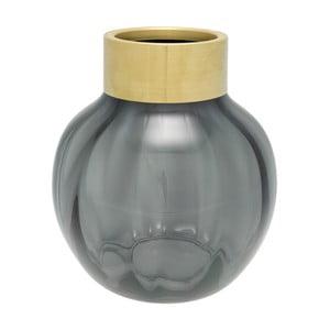 Szary wazon szklany z metalowym brzegiem Green Gate, wys. 19 cm