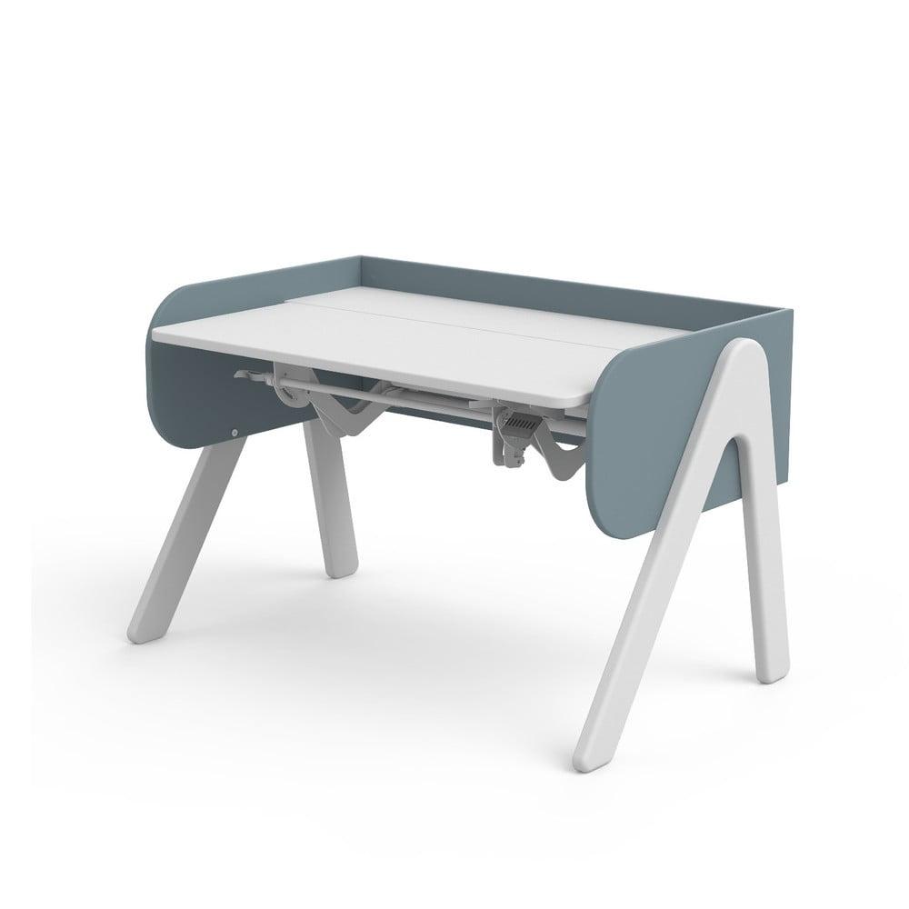 Niebiesko-białe biurko z drewna sosnowego z regulacją wysokości Flexa Woody