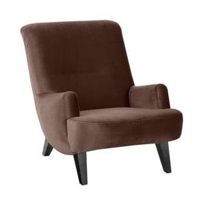 Brązowy fotel z czarnymi nogami Max Winzer Brandford Suede