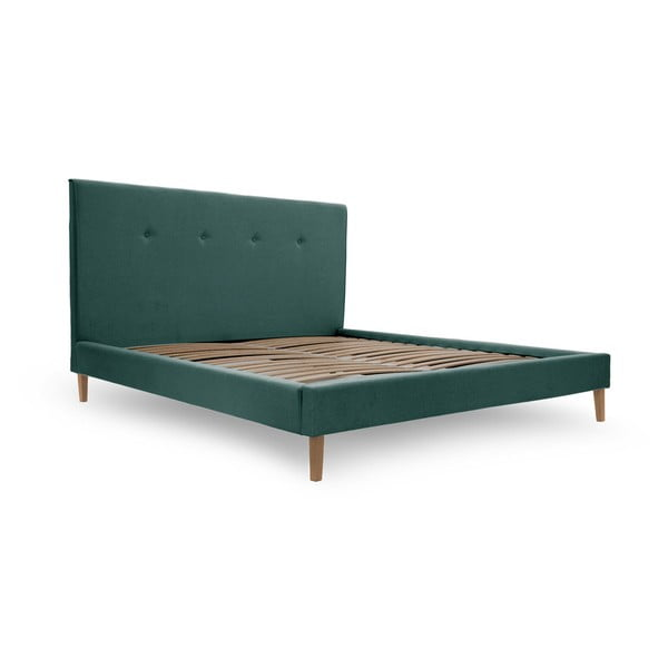 Niebieskie łóżko z naturalnymi nóżkami Vivonita Kent, 180x200 cm