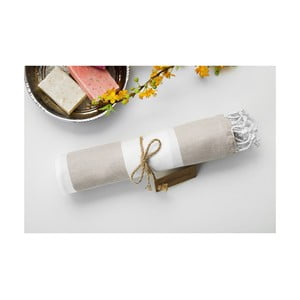 Ręcznik hammam Myra Beige White, 100x180 cm