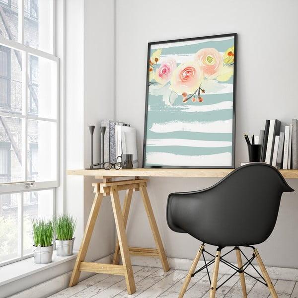 Plakat z kwiatami, modro-białe tło, 30 x 40 cm