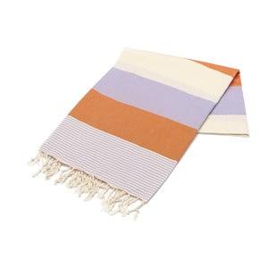 Fioletowo-pomarańczowy ręcznik Hammam Amerikan, 100x180cm