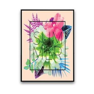 Plakat z kwiatami Summer, różowe tło, 30 x 40 cm