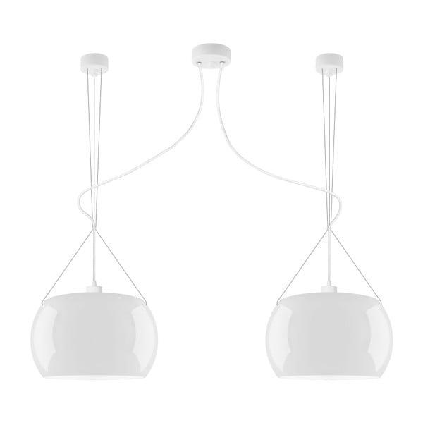 Biała podwójna błyszcząca lampa wisząca Sotto Luce MOMO